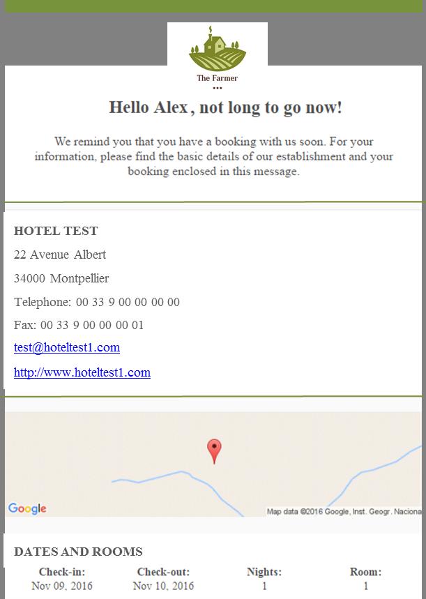 e-mail pré-séjour automatisé