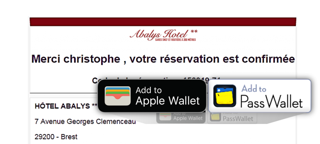 add to wallet reservation hotel mirai