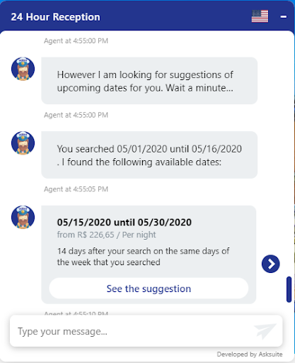 alternative dates - Asksuite chatbot - Mirai Booking Engine